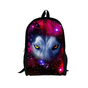 Showudesigns Fashion Printing Wolf Backpack for Teenager Girls Child Bagpack