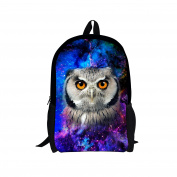 showudesigns Trendy Fashion Owl Face Schoolbag with side Water Bottle Pocket