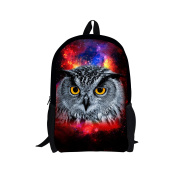 Showudesigns Colourful Printing Owl Backpack with Double Zipper Closure