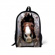 Showudesigns Cool Animal Horse School Backpack for Children Kids School Bag