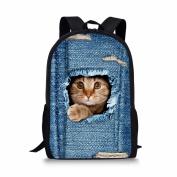 Showudesigns Cute Printing Denim Cat Children Girls Backpack Polyester School Bag
