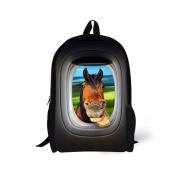 Showudesigns Cool Printing Horse Backpack Schoolbag for Kids with Water Pocket