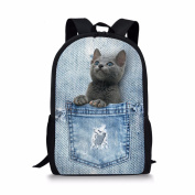 Showudesigns Vintage Printing Denim Cat Backpack for Teenager Girls Durable
