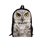 Showudesigns Grey Back to School Girls Owl Face Backpack Polyester