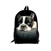 Showudesigns Black French Pug Dog Backpack for Youth Student Zipper