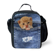 CHAQLIN Cute Denim Kitten Thermal Cooler Lunch Bags Insulated Picnic Bag