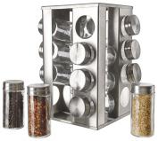 Original Cucina Italiana Stainless Steel 18/8 Spice Rack Square Seasoning Storage Organisation Rotating 16 Jar