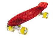 Ridge Skateboards Blaze Mini Cruiser Skateboard - Transparent Red Deck/yellow,