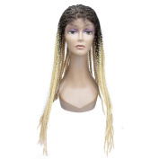 """Miss Rola 26""""Synthetic Heat Resistant Lace Front Wigs For Black Women Curly Box Braiding Full Lace Wig Half Hand Tied With Baby Hair Ombre Two Tone Colour"""