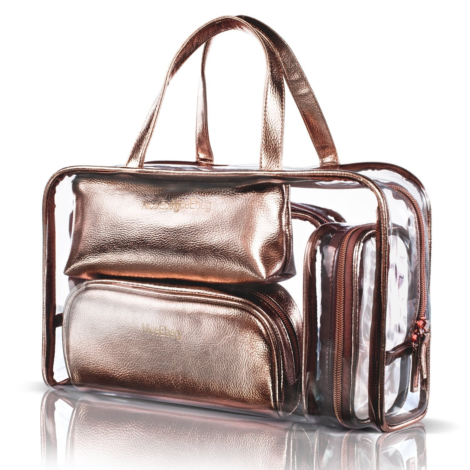 715aac51269e NiceEbag 5 in 1 Cosmetic Bag & Case Portable Carry on Travel Toiletry Bag  Clear PVC Makeup Quart Luggage Pouch Handbag Organiser for Men and Women ...