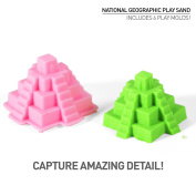 National Geographic Play Sand - 0.5kg of Sand with Castle Moulds and Tray (Glow-in-the-Dark!) - A Kinetic Sensory Activity