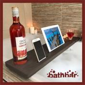 Wooden Bath Caddy Bath Shelf Bath Bar To Hold Mobile Phone, Tablet, Wine Glass Stained Dark Oak
