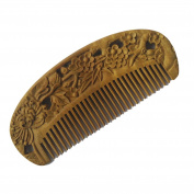 FANTAC CRAFTS Green Sandalwood Hair Comb Aromatic Wood Antistatic Wintersweet Flower Carved Brush Gift