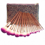 17Pcs Fairytale Collection Rose Gold Complete Eye Set Eyeshadow Eyeliner Blending Pencil Makeup Brushes With Case
