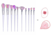 MEIQING 10 PC Makeup Brush Set Unicorn Design Brushes Professional Cosmetic Sets Tools with Embossed Silicone Sponge Brush Egg for Foundation Eyeshadow Eyebrow Eyeliner Blush Powder Concealer Contour