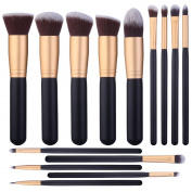 14 Pcs Makeup Brushes Set Kabuki Foundation Contour Blending Blush Concealer Face Eye Shadow Brush Synthetic Complete Cosmetic Brush Kit for Powder Liquid Cream