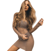 Women Dress, Neartime Sexy See Through Long Sleeve Solid Party Cocktail Mini Dress