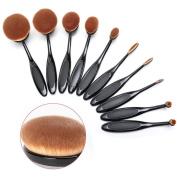 Oval Makeup Brush Set MOOVIE 10Pcs Foundation Contour Cosmetic Brushes Tool Set Cream Contour Powder Concealer Foundation Eyeliner Fashionable Super Soft Toothbrush Makeup Brush Set with Box