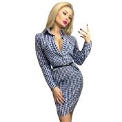 Women Dress, Neartime Women Lattice Print Bodycon Long Sleeve Fall Mini Dress