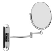 20cm Stainless Steel Wall Mounted Extending Folding Double Side 5x Magnification Makeup Mirror For Bathroom