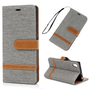 Sony Xperia XA1 Case MAXFE.CO Protective PU Leather Wallet Folio Cover Case Colour Blocking Full Protection Bumper Viewing Stand Shell Card Cash Holder For Sony Xperia XA1 - Grey