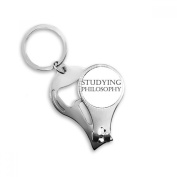 Short Phrase Studying Philosophy Metal Key Chain Ring Multi-function Nail Clippers Bottle Opener Car Keychain Best Charm Gift