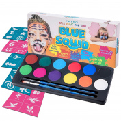 Blue Squid Face Paint Kit | 12 Colour, 30 Stencils, 2 Brushes | Best Value Quality Party Pack for Kids | Vibrant Water Based Painting Set Non-Toxic FDA Approved | +BONUS Free Online Tutorial