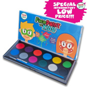 Face Paint for Kids - 12 Colour, 2 Professional Brushes, Stencils, Sturdy Slimline Cosmetics Case - Professional Quality Facepaints by Apple Yard - Water Based Fully FDA Compliant - Online Video Guide