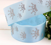 Crown Ribbon Blue with Silver Glitter Prince 3.8cm x 0.9m