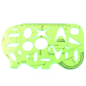 Students Math Drawing Learning Plastic Template Ruler Protractor Clear Green