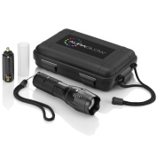 Auraglow Super Bright Cree Led Tactical Flashlight Pocket Torch With Carry Case