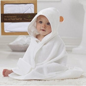 Lifestyle Luxury Extra Soft Baby Bamboo Hooded Towel w/ Bear Ears White & Orange  Organic & Hypoallergenic   Perfect Size f/ Newborn, Infant, Boy/Girl, Toddler   Great For Sensitive Skin