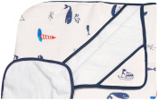 Little Unicorn Cotton Hooded Towel & Wash Cloth Set- Nautical Harbour