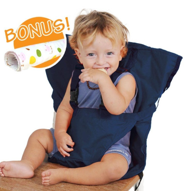 Baby HighChair Harness   Portable Travel Safety Belt Booster Feeding High Chair Seat Cover Sack Cushion Bag for Baby Kid Toddler   Secure with Adjustable Straps   Include Hand Wash Cloth   Dark Blue