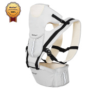 MarSue 100% Organic Cotton Ergonomic Baby Carrier with Hip Seat and Detachable Headrest