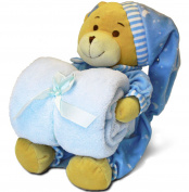Baby Shower Gift – Baby Blanket + Toy Bear Set – Perfect Baby Gift from Little Grape Land