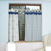 Romantic Blue White Printed Window Curtain Valance Tier Pairs 130cm x 80cm