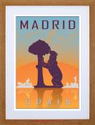 TRAVEL MADRID SPAIN BEAR MADRONO TREE CITY SYMBOL VECTOR FRAMED PRINT F97X7089