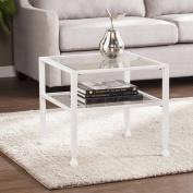 Southern Enterprises Jumpluff Metal/Glass Bunching Cofee Table, White