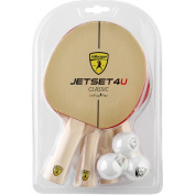 Killerspin Jetset 4U Classic Table Tennis Racket Set, Four Paddles with Six Ping Pong Balls
