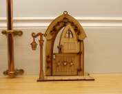 Opening Gingerbread House Fairy Door. 3D Self-Assembly Wooden Gingerbread 'Stable Door' style Fairy Door Craft Kit, with Lantern, Key & Working Hinges