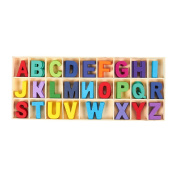 104 Piece Set Wooden Letters - Wooden Craft Letters with Storage Tray - Wooden Alphabet Letters | Kids Learning Toy, Assorted Colours