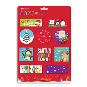 50 Cute Christmas Xmas Gift Tags Round Square Rectangle With Thread Kids Tags
