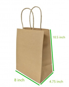 Metrogalaxy 20cm x 12cm X10.13cm Medium Kraft Paper Bags, Party Bags, Shopping Bags with Handles, Colour