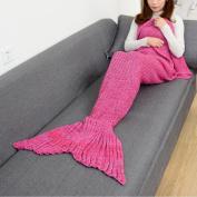 CAMMITEVER 4 Sizes Yarn Knitted Mermaid Tail Blanket Soft Sleeping Bed Handmade Crochet Anti-Pilling Portable Blanket For Spring Girls Women