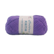 Celine lin One Skein Soft & Smooth Natural Cotton Bamboo Knitting Yarn 50g,Purple