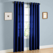 1 PANEL MIRA SOLID ROYAL BLUE SEMI SHEER WINDOW FAUX SILK ANTIQUE BRONZE GROMMETS CURTAIN DRAPES 55 WIDE X 160cm LENGTH