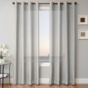 1 PANEL MIRA SOLID SILVER grey SEMI SHEER WINDOW FAUX SILK ANTIQUE BRONZE GROMMETS CURTAIN DRAPES 55 WIDE X 160cm LENGTH