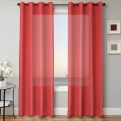 1 PANEL MIRA SOLID RED SEMI SHEER WINDOW FAUX SILK ANTIQUE BRONZE GROMMETS CURTAIN DRAPES 55 WIDE X 160cm LENGTH