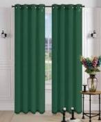 1 PANEL MIRA SOLID HUNTER GREEN SEMI SHEER WINDOW FAUX SILK silver GROMMETS CURTAIN DRAPES 55 WIDE X 160cm LENGTH